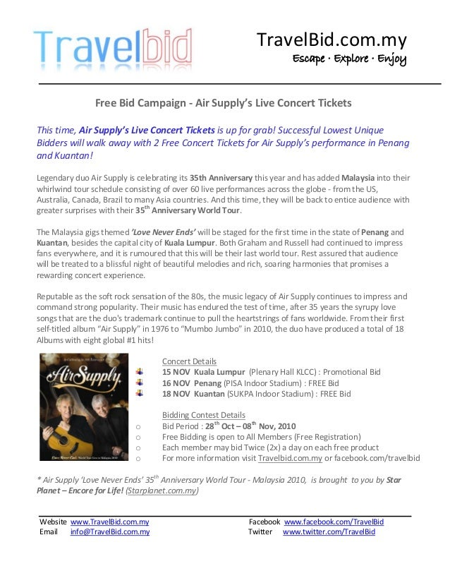 Free Bid Campaign - Air Supply's Live Concert Tickets at TravelBid co…