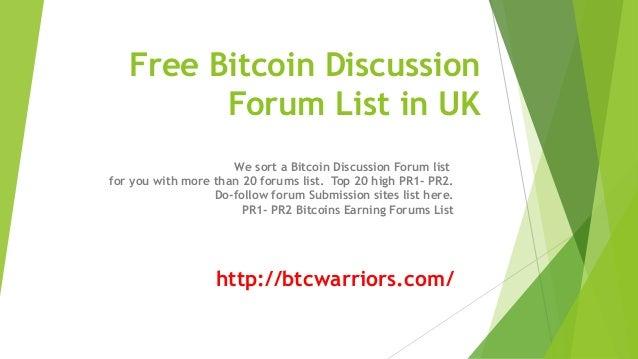 Free bitcoin forum in UK