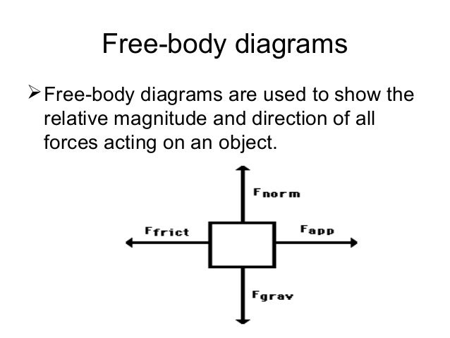 free body diagram Free body diagrams introduction: a free body diagram is a picture of the forces which act on an object and is the first (and perhaps the most important) step in solving force problems.