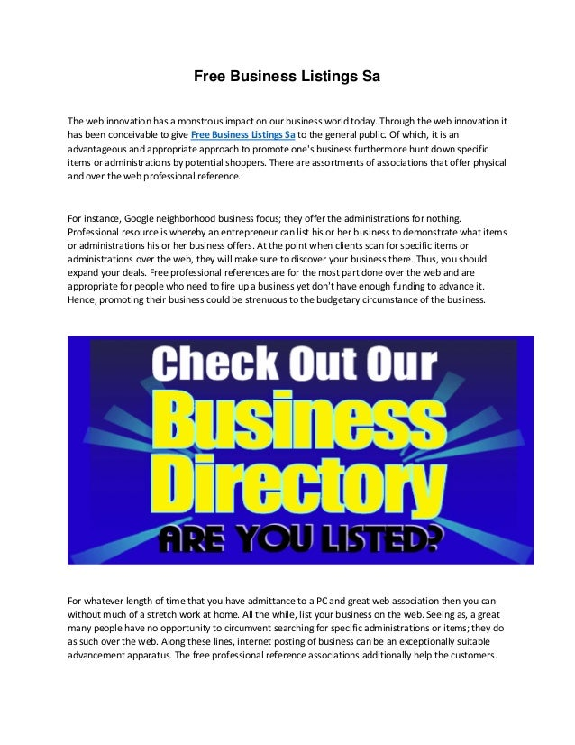 Free business listings sa