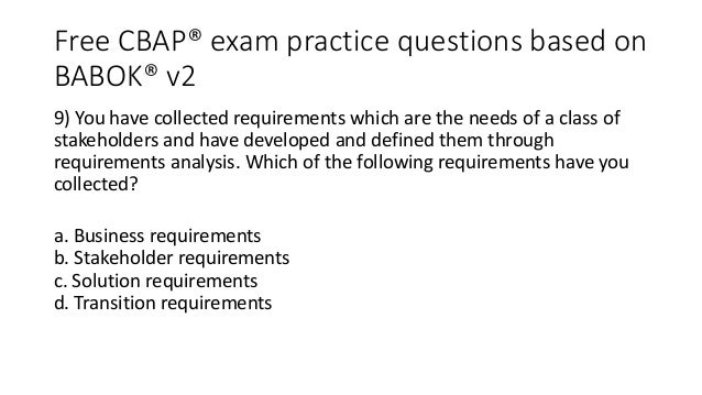 Free CBAP® practice questions based on BABOK® v2.