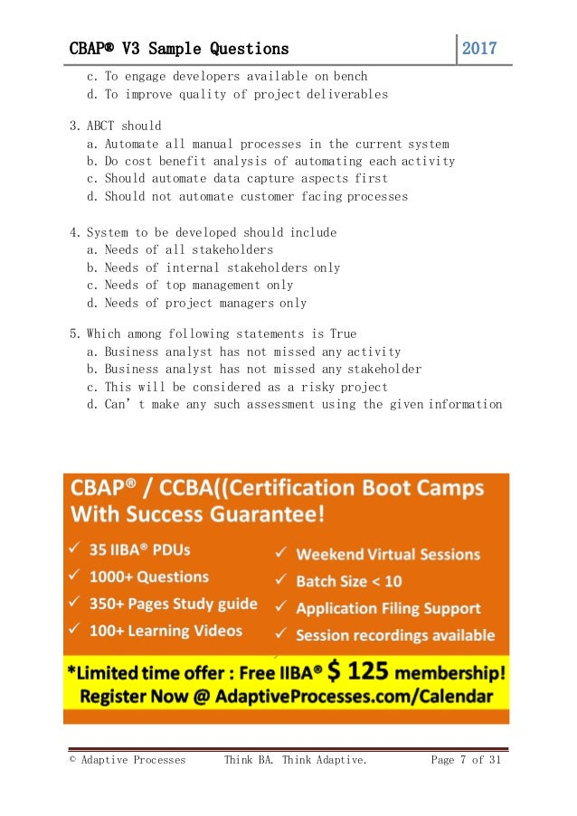 Free CBAP V3 question bank