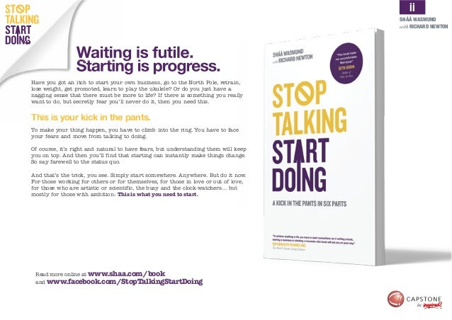 Stop Talking Start Doing: A kick in the pants in six parts Slide 2