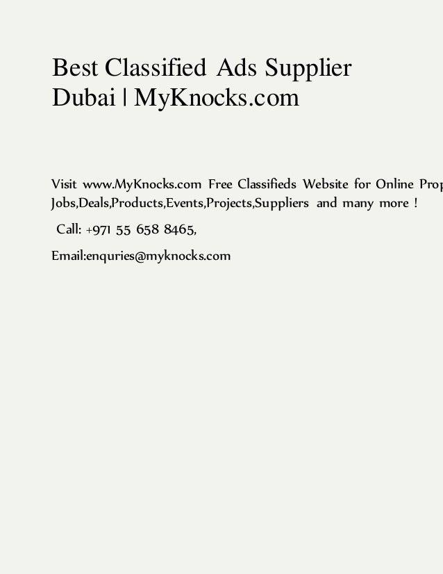 Best Classified Ads Supplier Dubai | MyKnocks.com Visit www.MyKnocks.com Free Classifieds Website for Online Prop Jobs,Dea...