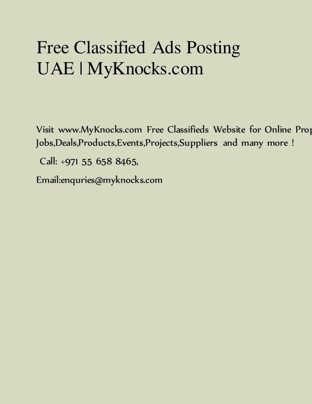 Free Classified Ads Posting UAE | MyKnocks com