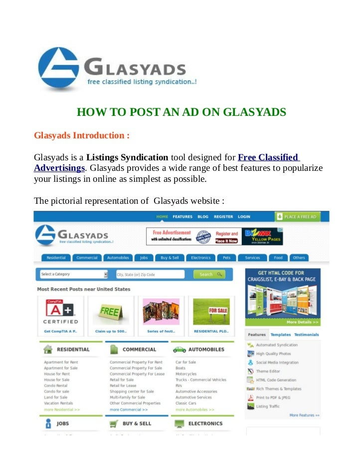HOW TO POST AN AD ON GLASYADSGlasyads Introduction :Glasyads is a Listings Syndication tool designed for Free ClassifiedAd...
