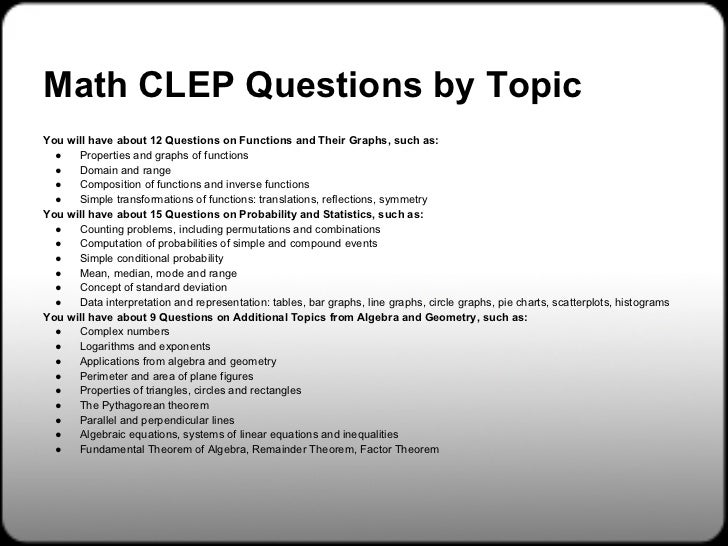 College Algebra Exam – CLEP – The College Board