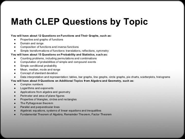 CLEP College Algebra Practice Test (updated 2019)