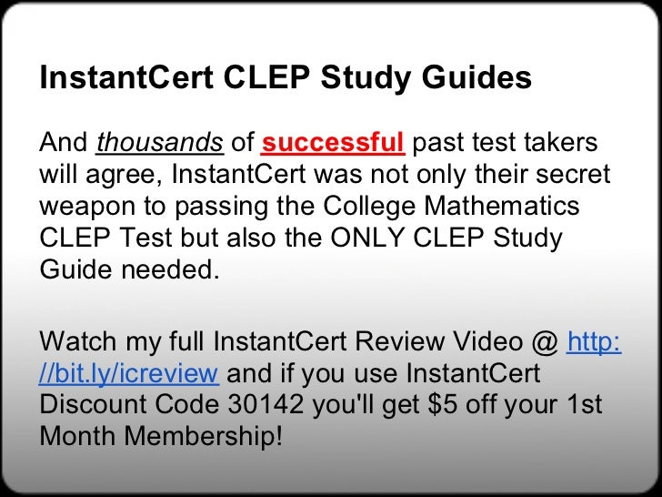 Free college mathematics clep study guides | discover this secret.