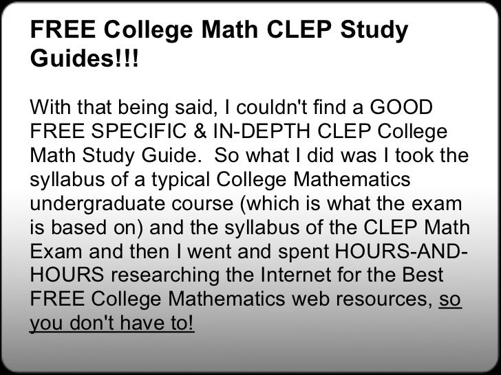 College Mathematics CLEP Free Study Guide! - Free-Clep ...