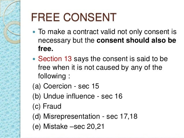 discuss when consent is not free