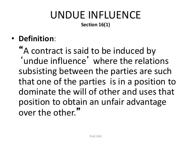 duress and undue influence in contract law pdf