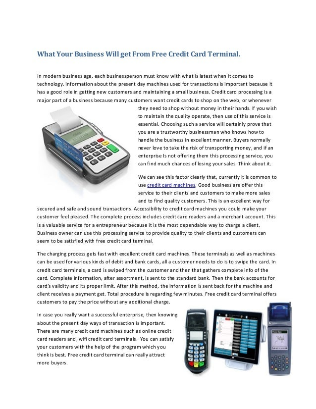 Free credit card terminal
