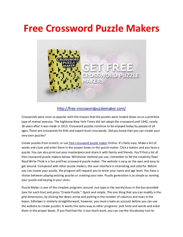 Free crossword puzzle maker