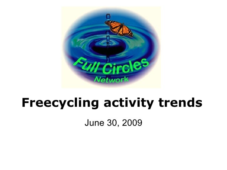 Freecycling activity trends          June 30, 2009