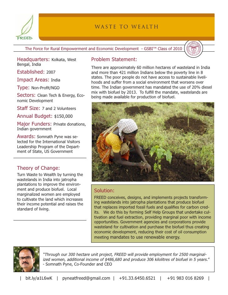 WA S T E TO W E A LT H        The Force for Rural Empowerment and Economic Development - GSBI™ Class of 2010  Headquarters...