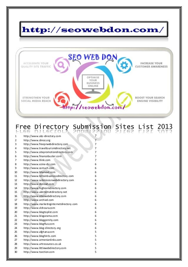 Free Directory Submission Sites List 2013 1 http://www.abc-directory.com 7 2 http://www.dmoz.org 7 3 http://www.freeprwebd...