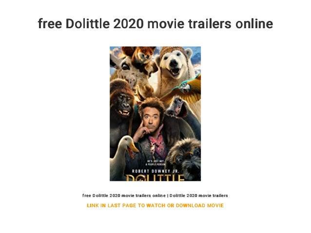 Free Dolittle 2020 Movie Trailers Online