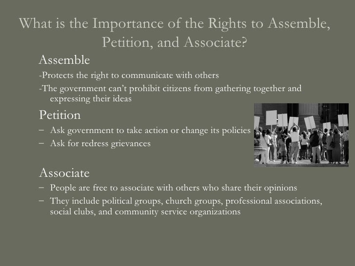 Freedom To Assemble Petition And Associate
