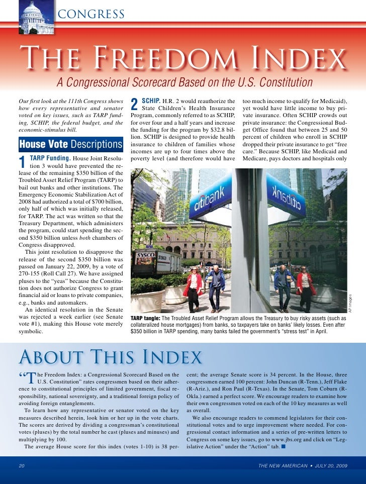 CONGRESS    The Freedom Index                 A Congressional Scorecard Based on the U.S. Constitution Our first look at t...