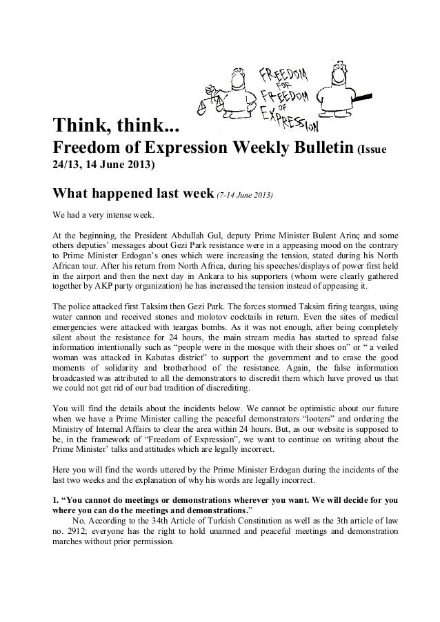 Think, think... Freedom of Expression Weekly Bulletin (Issue 24/13, 14 June 2013) What happened last week(7-14 June 2013) ...