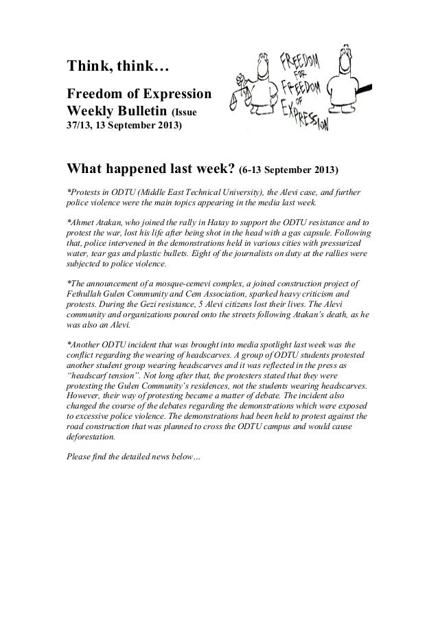 Think, think… Freedom of Expression Weekly Bulletin (Issue 37/13, 13 September 2013) What happened last week? (6-13 Septem...