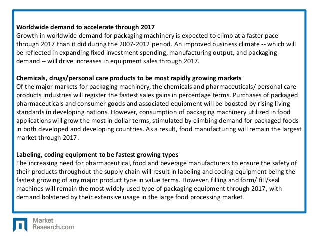 Worldwide demand to accelerate through 2017 Growth in worldwide demand for packaging machinery is expected to climb at a f...