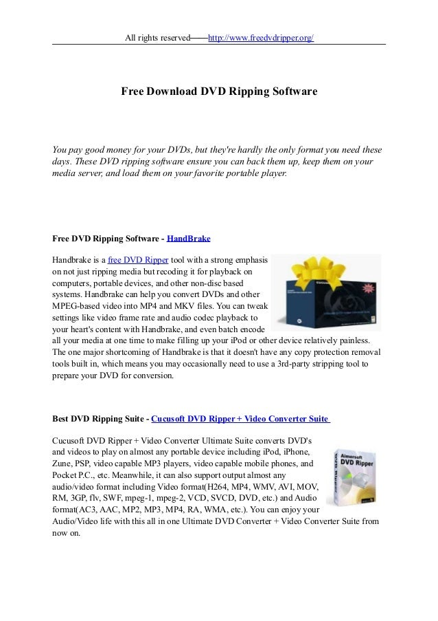 Free download dvd ripping software