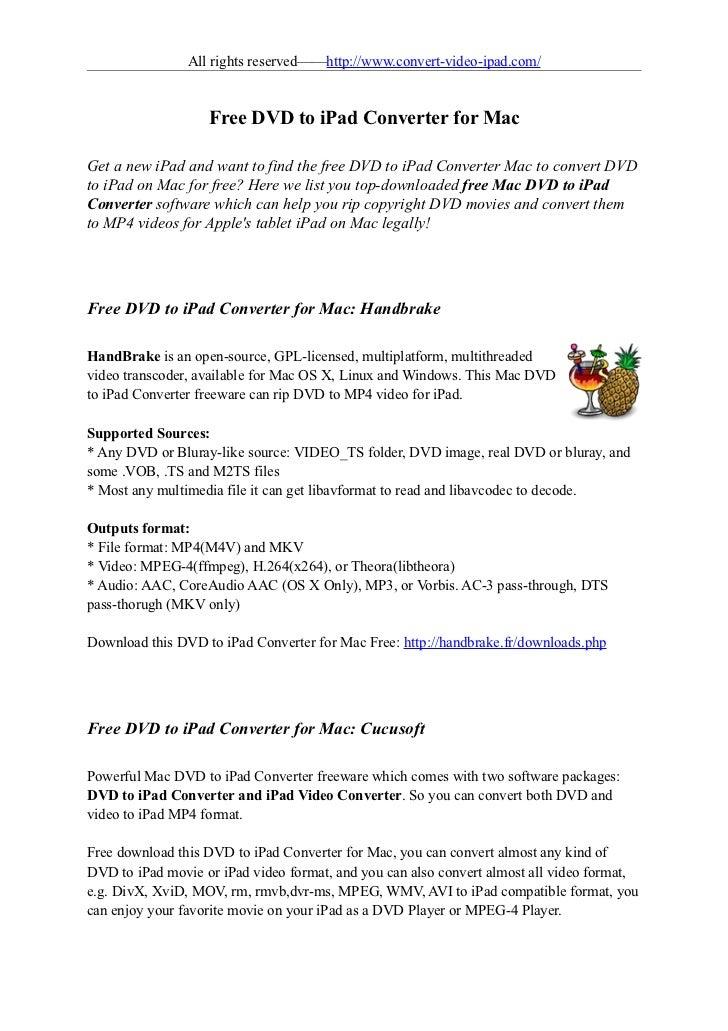 Free dvd to ipad converter for mac