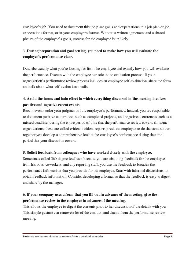 Free employee performance review phrases – Performance Review Template Free Download