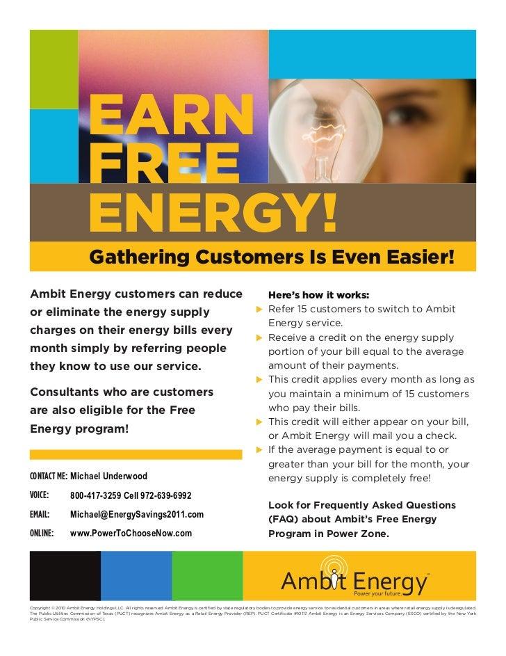 EARN                           FREE                           ENERGY!                             Gathering Customers Is E...