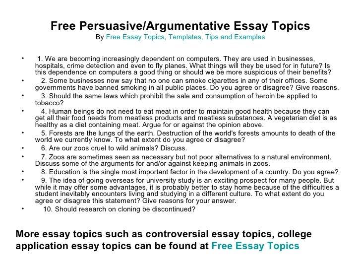 argumentative essay topics college level