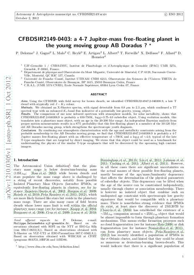 Astronomy & Astrophysics manuscript no. CFBDSIR2149˙arxiv                                                       c ESO 2012...