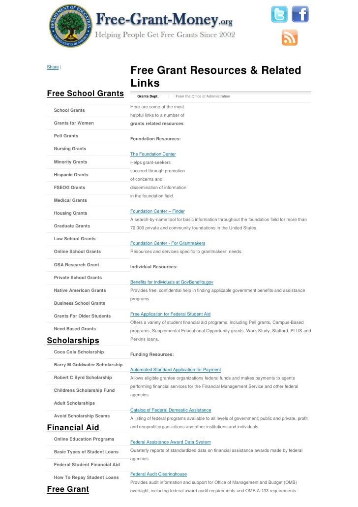 Share |                                    Free Grant Resources & Related                                    Links Free Sc...