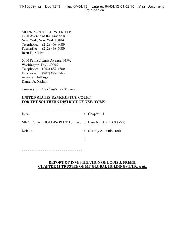Freeh Report On Mf Global