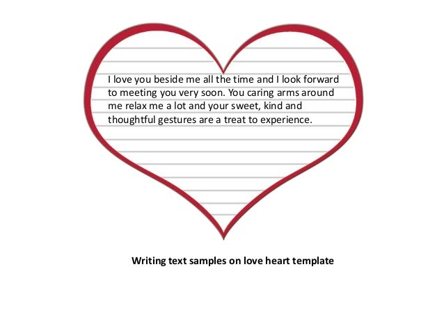Writing Text Samples On Love Heart Template 3