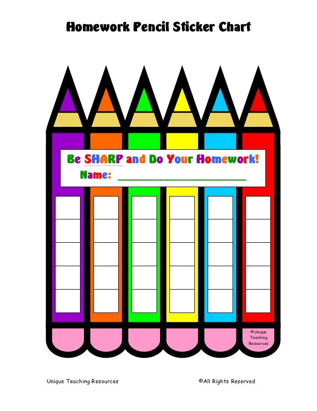 Homework Pencil Sticker Chart       Be SHARP and Do Your Homework!           Name: __________________                     ...