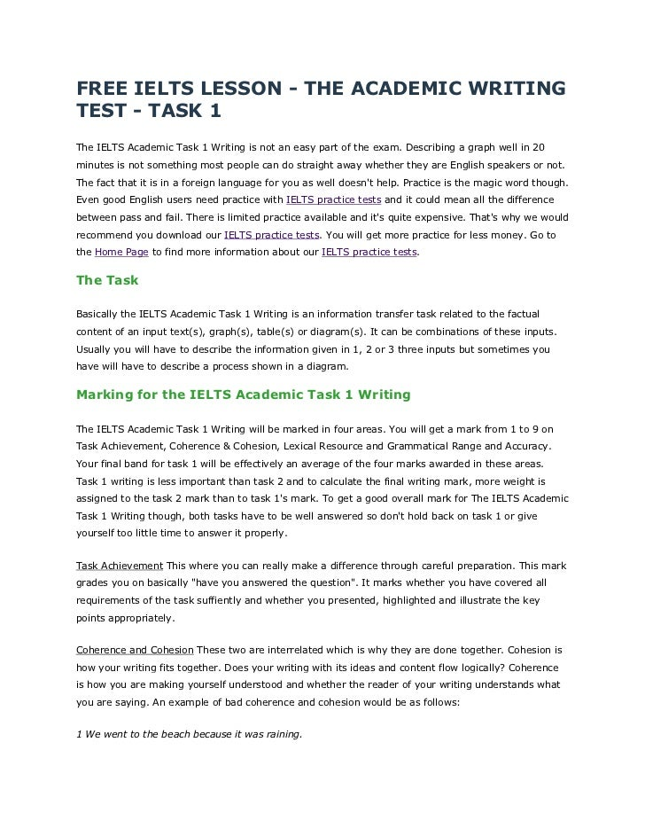 FREE IELTS LESSON - THE ACADEMIC WRITINGTEST - TASK 1The IELTS Academic Task 1 Writing is not an easy part of the exam. De...