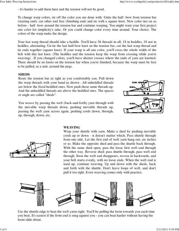 Free Inkle Weaving Instructions