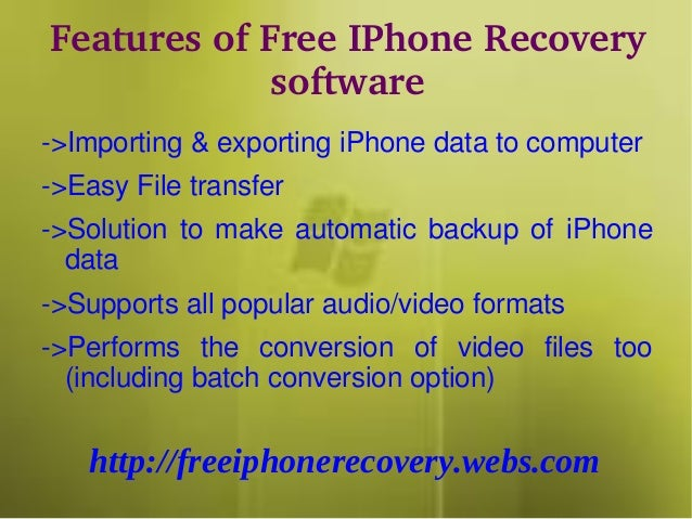 Free iphone recovery