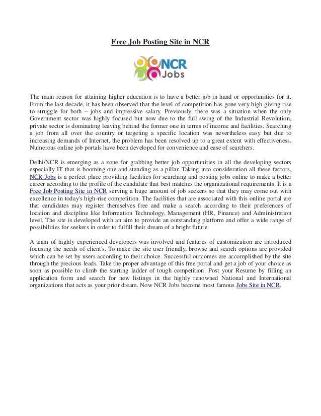 free job posting site in ncr