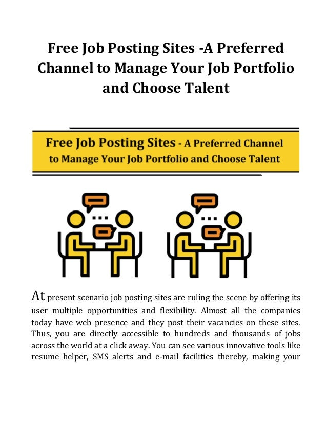 free job posting sites a preferred channel to manage your job portfolio and choose talent