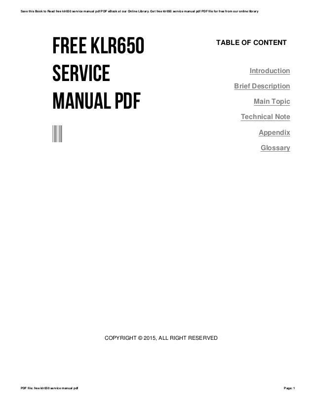 Free klr650 service manual pdf