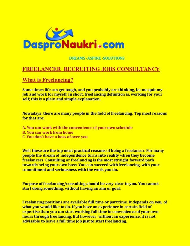 DREAMS -ASPIRE -SOLUTIONSFREELANCER RECRUITING JOBS CONSULTANCYWhat is Freelancing?Some times life can get tough, and you ...