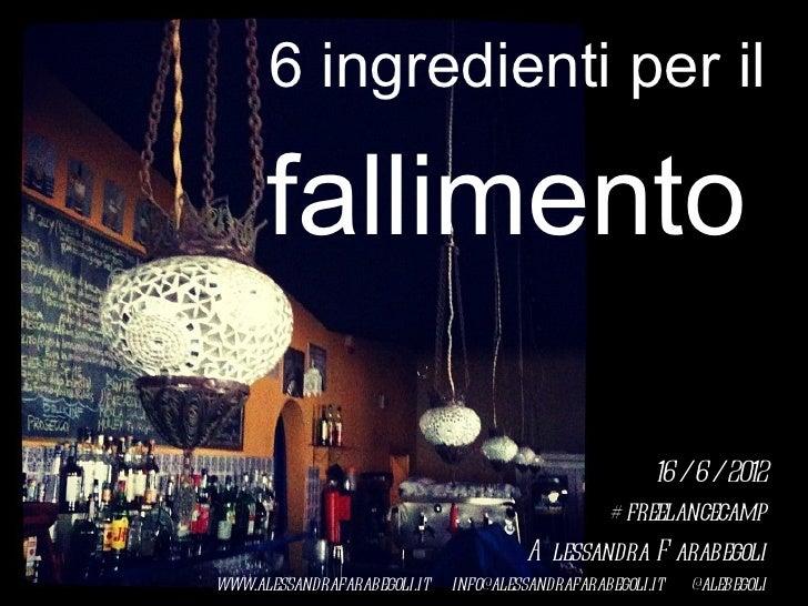 6 ingredienti per il      fallimento                                                   16 / 6 / 2012                      ...