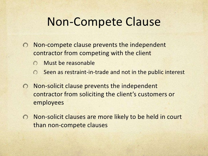 Non Competition Clause  BesikEightyCo
