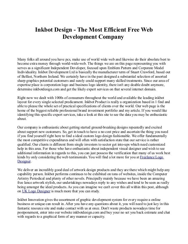 Inkbot Design - The Most Efficient Free Web  Development Company  Many folks all around you have pcs, make use of world wi...