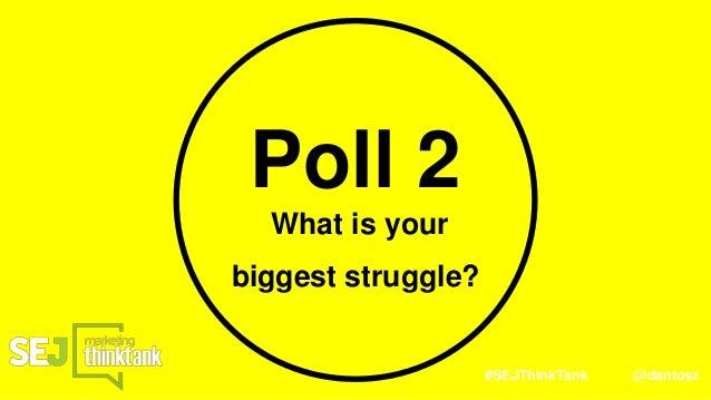 #SEJThinkTank @dantosz Poll 2 What is your biggest struggle?