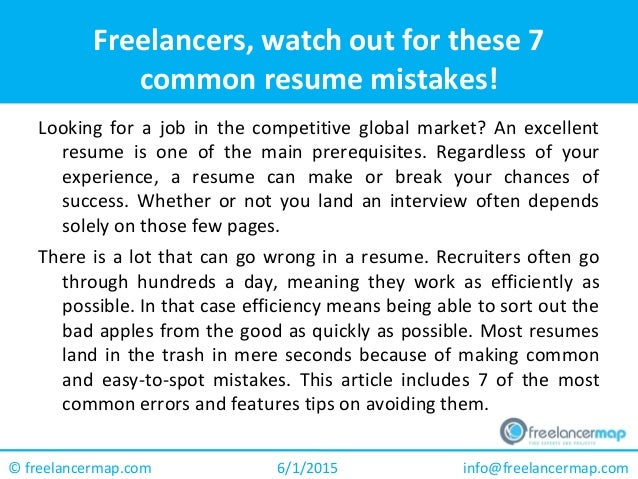 Freelancers Watch Out For These  Common Resume Mistakes