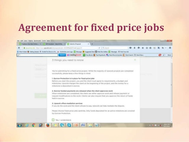 Agreement for fixed price jobs